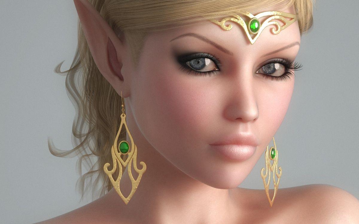 Фото бесплатно девушка, эльф, глаза, губы, уши, острые, украшения, рендеринг, рендеринг