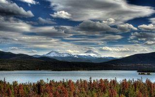 Фото бесплатно горы красивые, снег, облака
