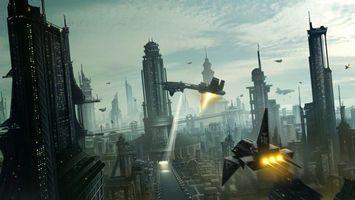 Бесплатные фото космические,корабли,город,здания,небо,облака,фантастика