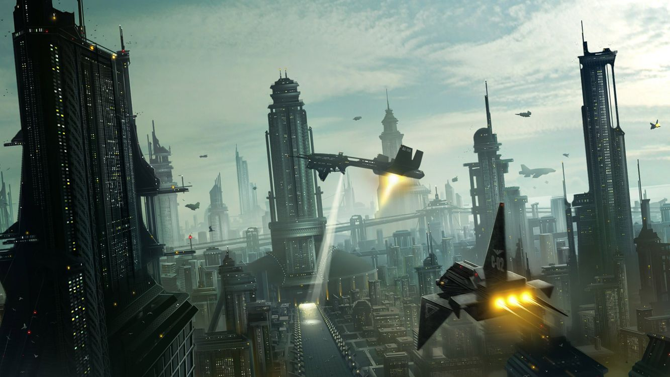 Фото бесплатно космические, корабли, город, здания, небо, облака, фантастика - на рабочий стол