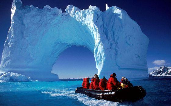 Бесплатные фото ледовитый,океан,льдины,арка,экпидиция,лодка,разное
