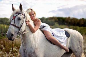 Заставки лошадь, белая, девушка
