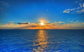 Бесплатные фото море,синее,небо,закат,солнца,облака,простор
