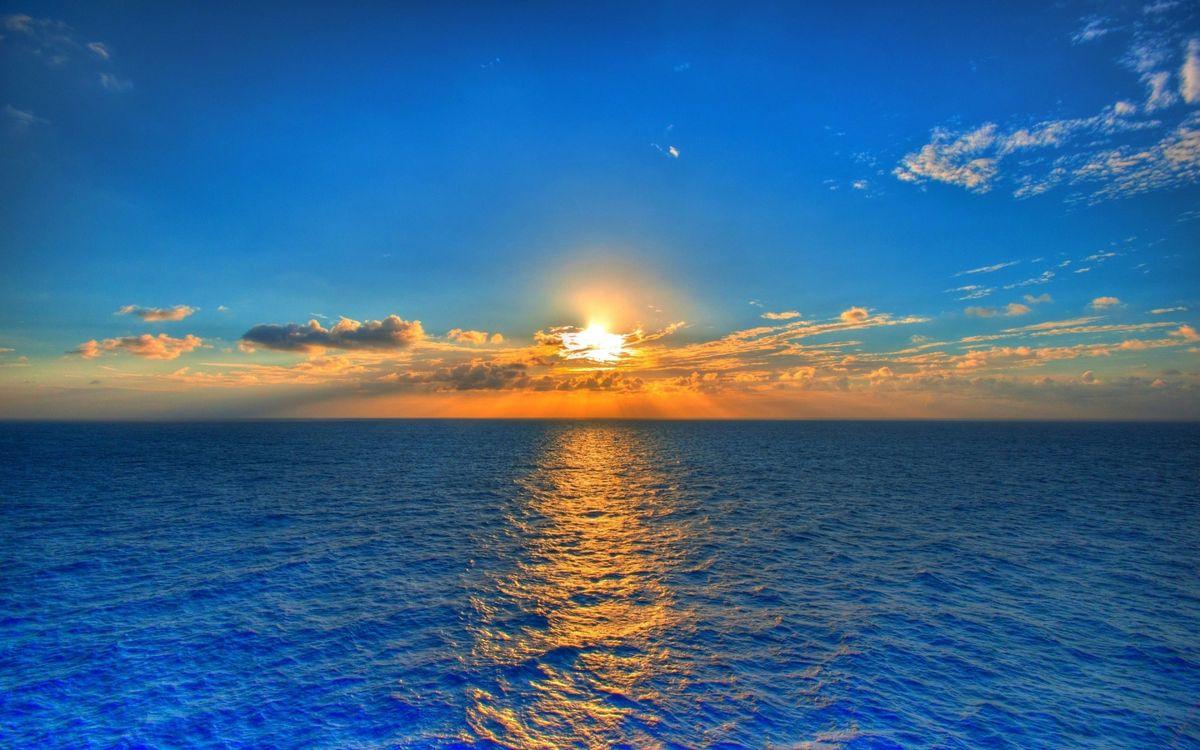 Фото бесплатно море, синее, небо, закат, солнца, облака, простор, горизонт, пейзажи, пейзажи