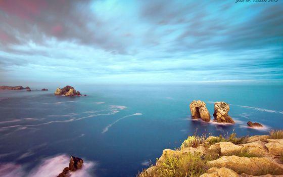 Фото бесплатно море, скалы, облака