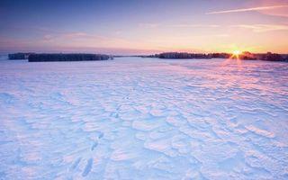 Заставки небо,закат,солнце,снег,мороз,холод,следы