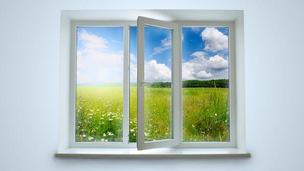 Бесплатные фото окно,поляна,трава,ромашки,рама,форточка,лето,тепло,природа