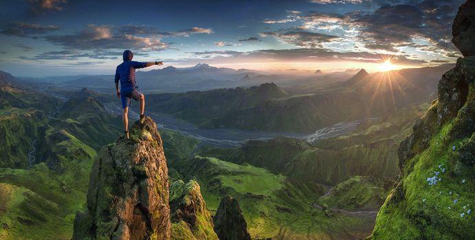 Скачать красивую заставку о пейзаж, горы, солнце
