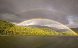 Бесплатные фото радуга,тучи,вода,лес,горы,небо,природа