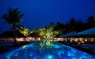 Бесплатные фото тропики,мальдивы,вечер,курорт,бассейн,разное