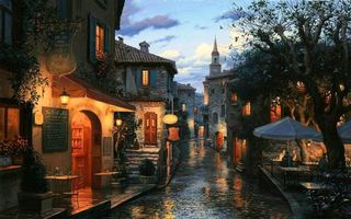 Бесплатные фото tables,eugeny lushpin,painting,evening,houses,umbrellas,street