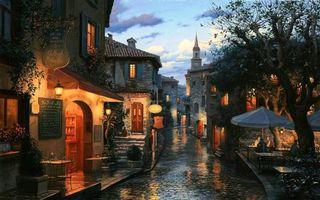 Бесплатные фото tables, eugeny lushpin, painting, evening, houses, umbrellas, street