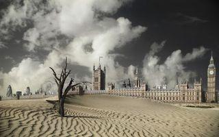 Бесплатные фото город,в пустыне,часовня,часы,песок,дерево
