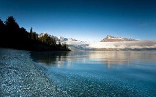Бесплатные фото берег,озеро,камни,деревья,гора,облака,пейзажи