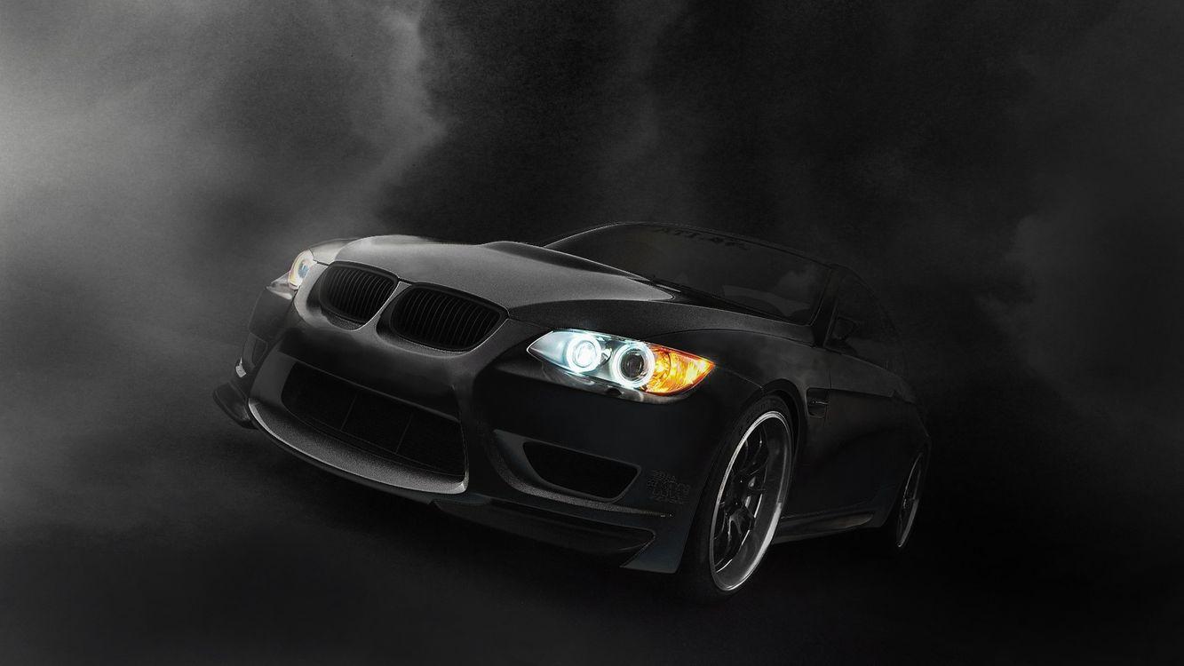Фото бесплатно бмв, черная, матовая, фары, свет, решетка, дым, машины, машины