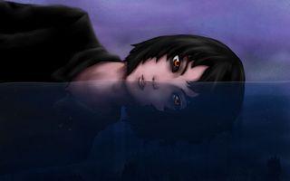 Заставки девочка, глаза, волосы, черный, синий, необычно, аниме