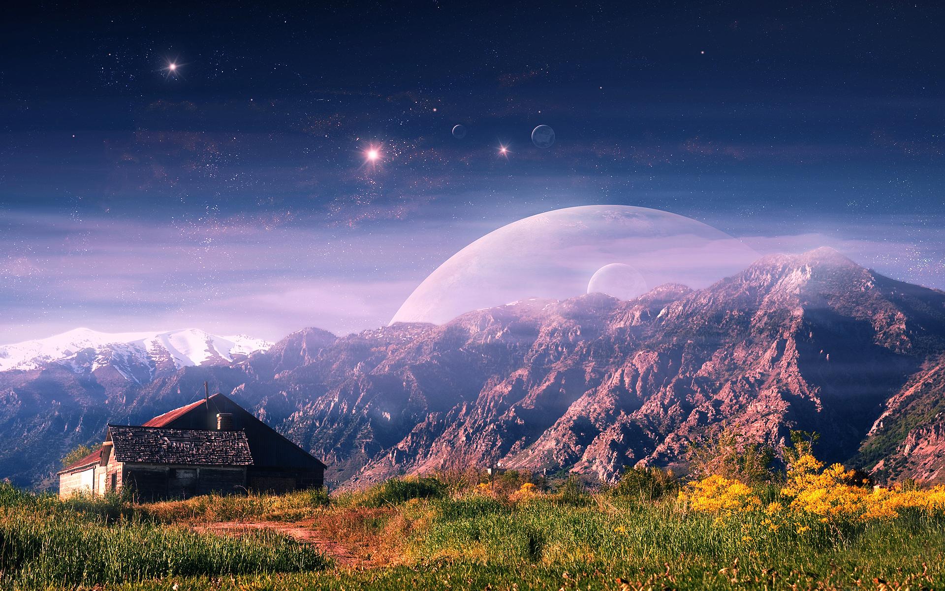 дом, холм, небо