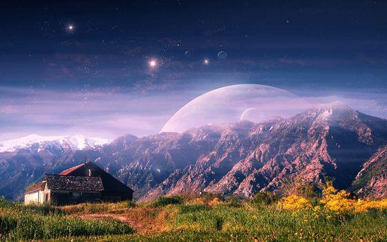 дом, холм, небо, планеты, спутники