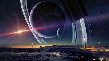 Бесплатные фото фантастика, планета, пейзаж