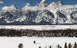 Заставки горы,снег,облака,небо,голубое,деревья,елки