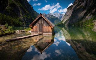 Фото бесплатно горы, вода, помост