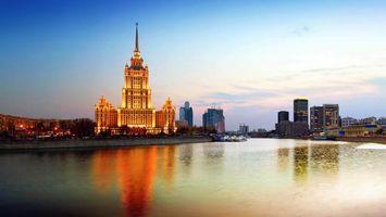 Бесплатные фото гостиница,украина,москва,река,россия,вечер,свет