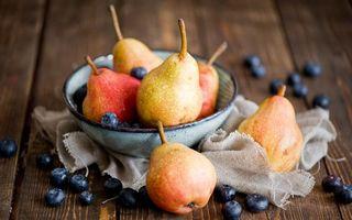 Заставки груши, фрукты, черника, миска, стол, ягоды, десерт, еда