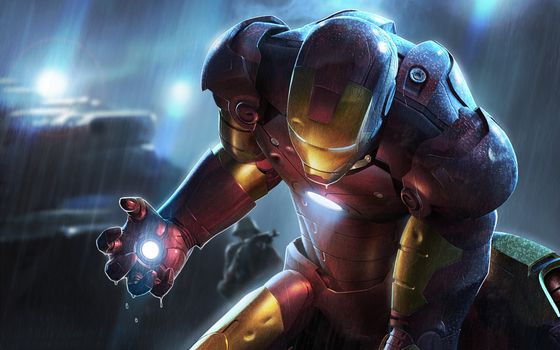 Бесплатные фото iron man,rain,wet,marvel,tony stark,armor,light,игры