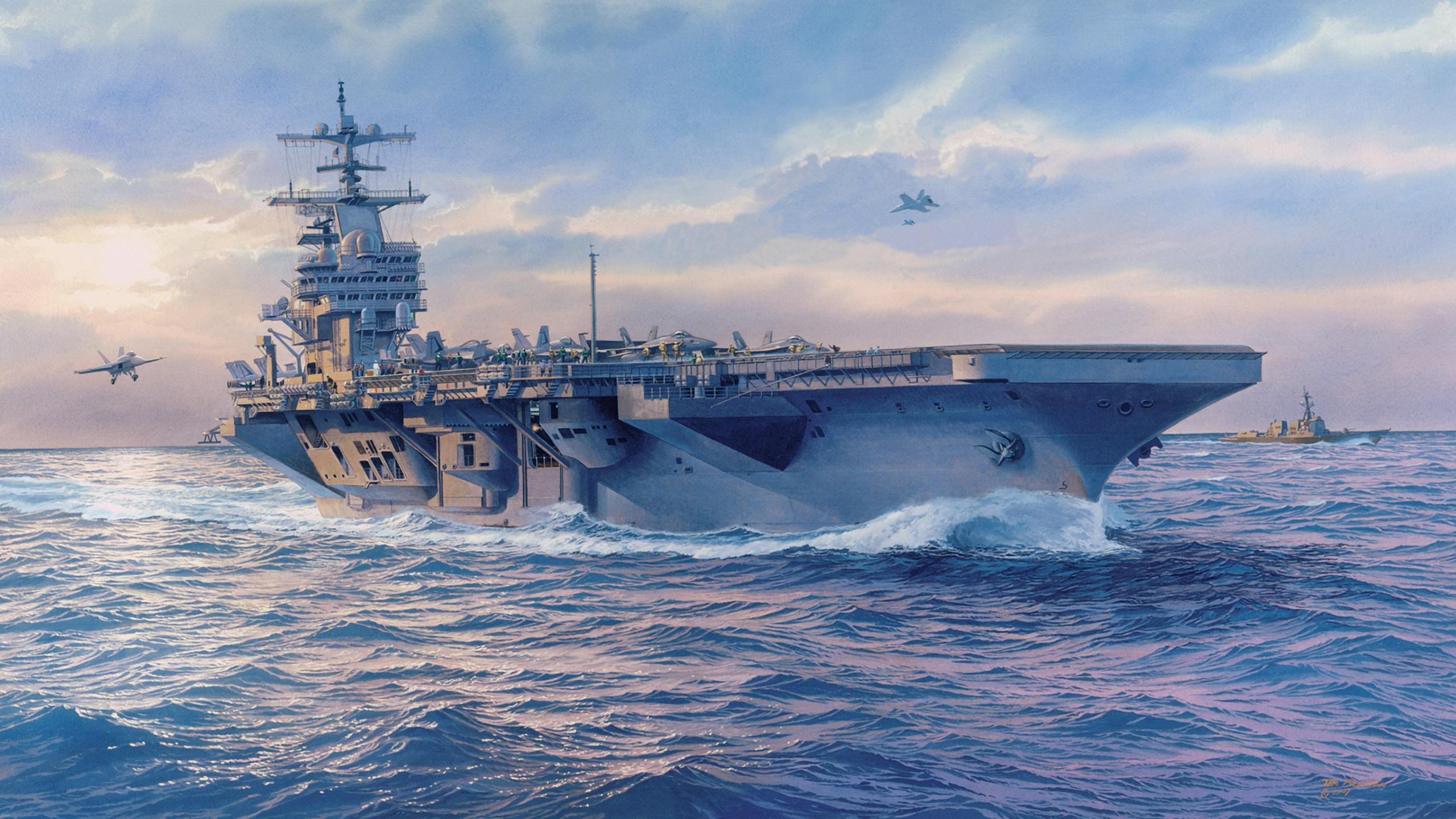 корабль, авианосец, океан