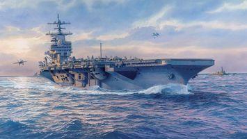 Заставки корабль,авианосец,океан,вода,брызги,волны,небо