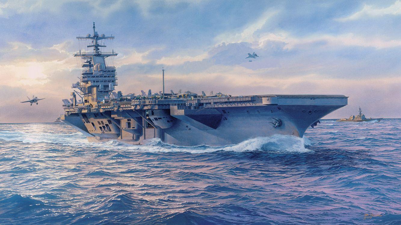 Фото бесплатно корабль, авианосец, океан - на рабочий стол