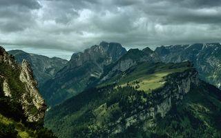 Бесплатные фото лес,деревья,горы,зелень,небо,облака,природа