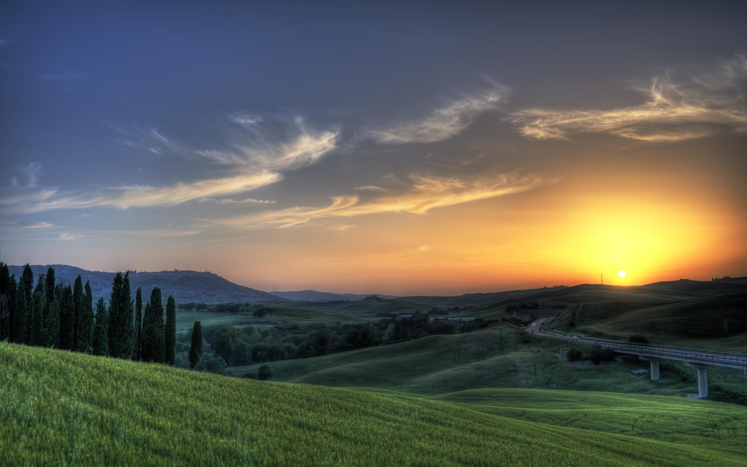 обои поля, зеленые, деревья, холмы картинки фото