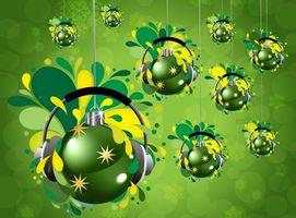 Обои шарики, елочные, зеленые, висят, наушники, краски, брызги, украшение, картинка, новый год, настроения, праздники