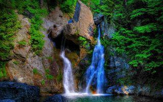 Бесплатные фото скала,обрыв,водопад,камни,река,деревья,растительность