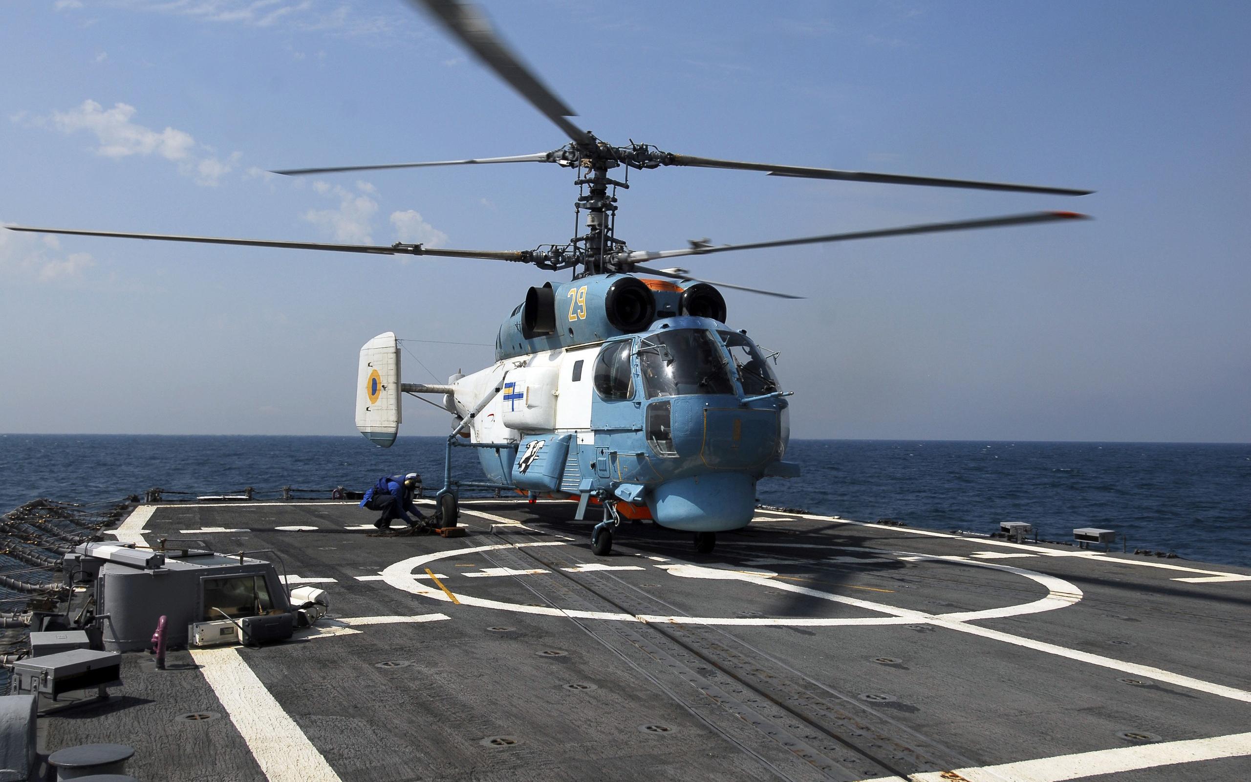 вертолет, лопасти, океан