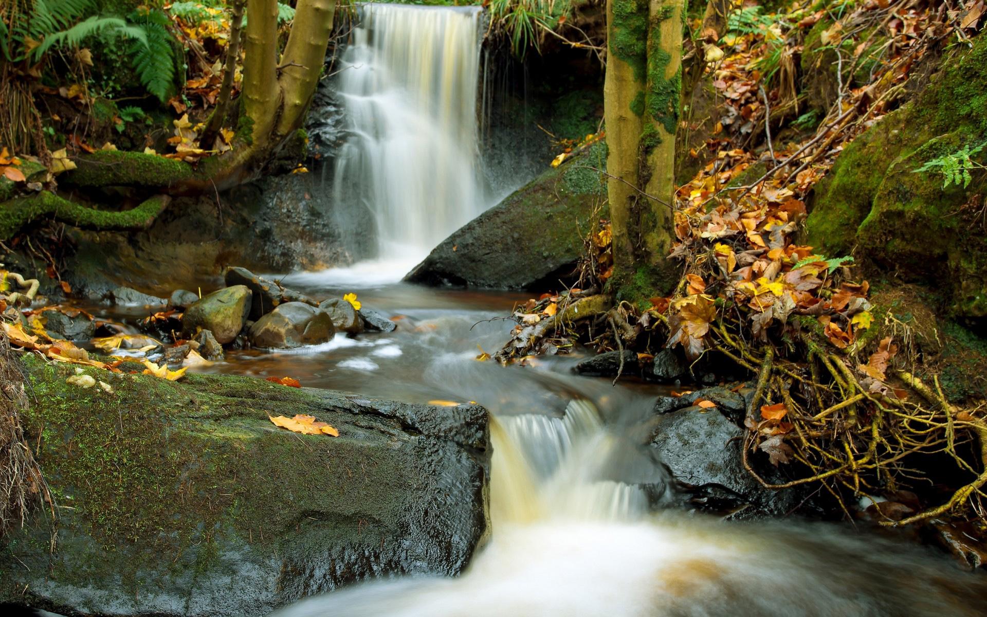 водопад, брызги, камни