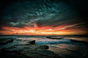 Заставки закат,солнца,тучи,море,волны,бриз,скалы