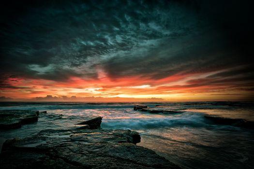 Photo free sunset, sun, clouds