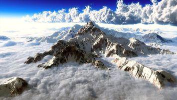 Фото бесплатно горы, облака, холм