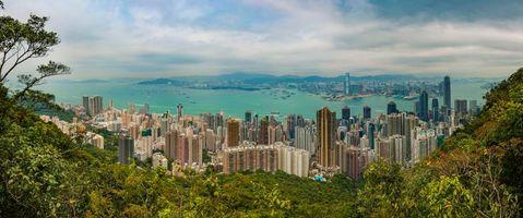 Заставки панорама, Гонконг, Китай