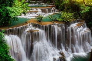 Photo free Waterfall in Kanchanaburi province, Thailand, cascade