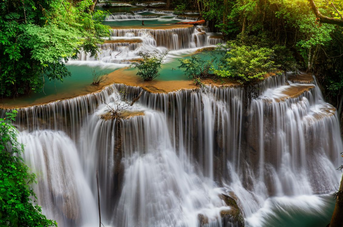 Free photo Waterfall in Kanchanaburi province, Thailand, cascade - to desktop