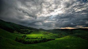 Заставки закат,поля,холмы,деревья,пейзаж