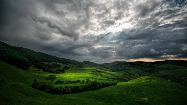 Фото бесплатно закат, поля, холмы