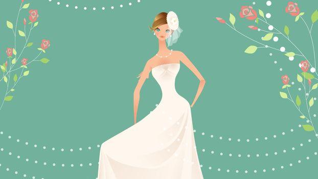 невеста, праздник, платье, вектор