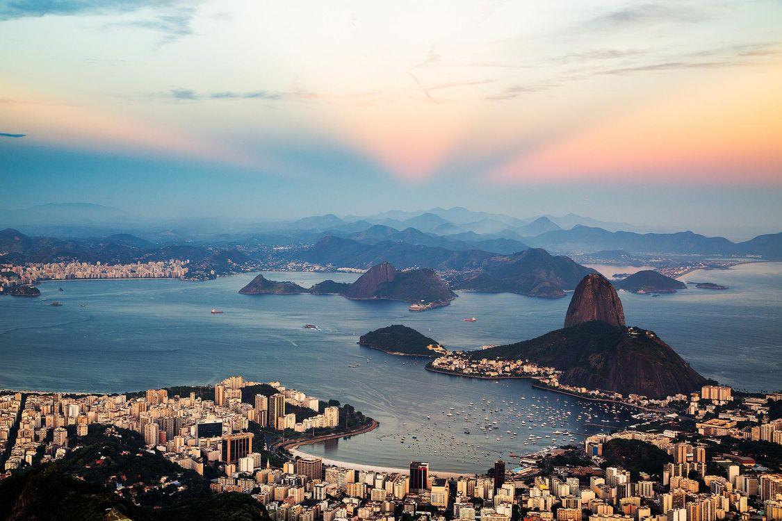 Фото бесплатно Сумерки над Рио-де-Жанейро, Рио-де-Жанейро, Бразилия - на рабочий стол
