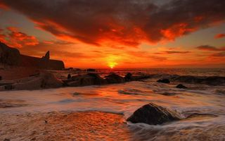 Фото бесплатно янтарный закат, солнце, море