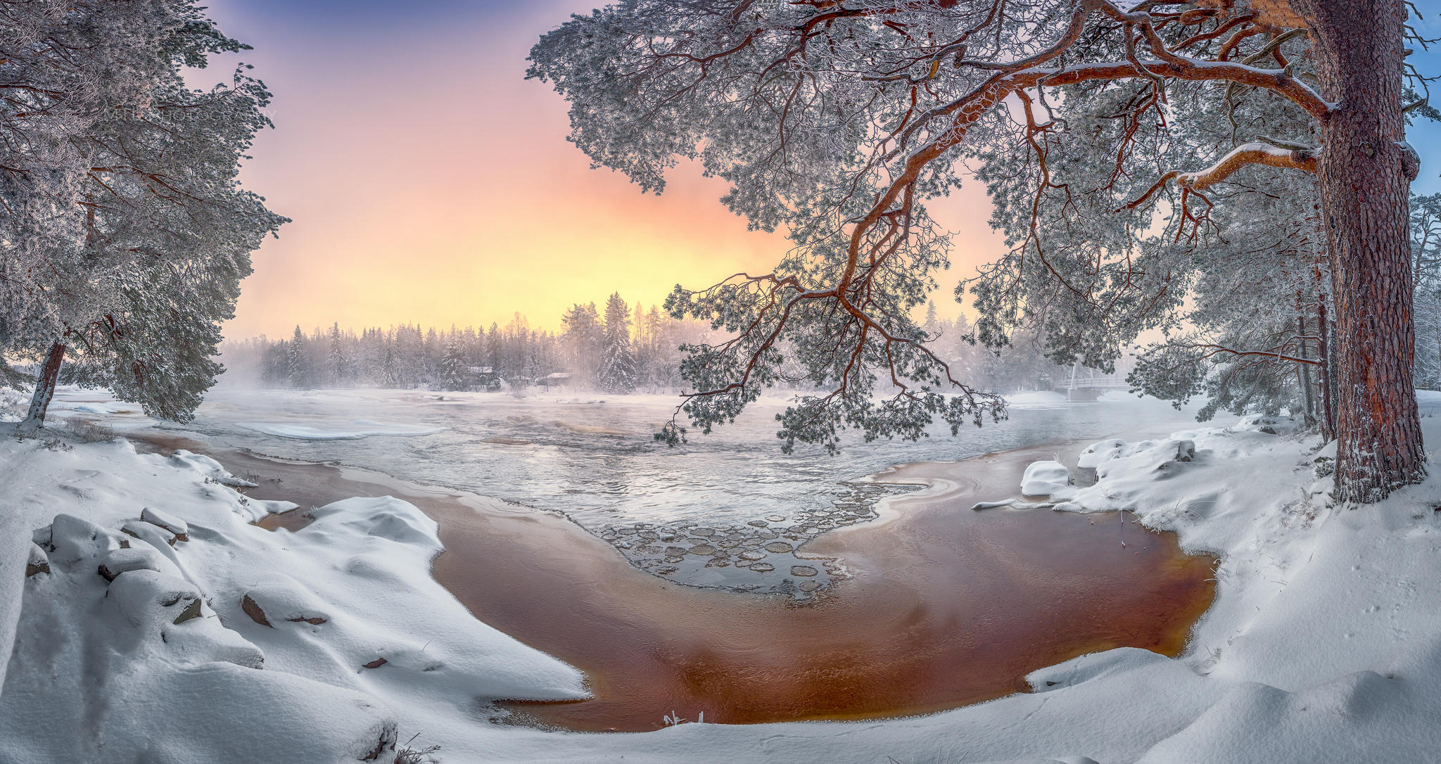 обои зима, закат, река, деревья картинки фото