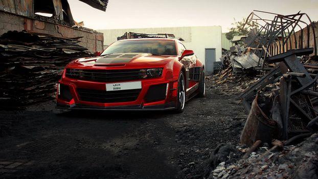 Photo free Chevrolet Camaro, red, dump